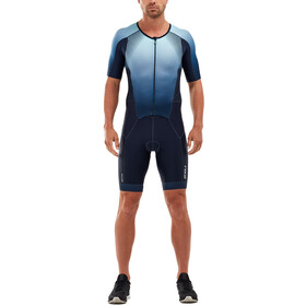 2XU Perform Trisuit met Mouwen en Doorlopende Rits Heren, midnight/fresh ombre